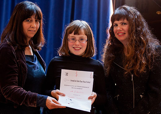 Composers Lola Perrin and Melanie Spanswich with Martha Lawson, prizewinner